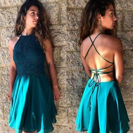cc0a854813d4 Teal yellow shorT prom dresses online shopping - Teal Halter Lace Homecoming  Dress Criss Cross Back