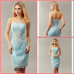 $enCountryForm.capitalKeyWord Australia - Real Photo Sheath Fitted Short Blue lace prom Dresses Strapless Beaded Lace Knee Length Informal Prom Cocktail Party Gowns best selling