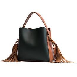 $enCountryForm.capitalKeyWord Australia - Free2019 Woman Bag The Tide Barrel Width Straps Single Shoulder Portable Bale Tassels All-match Cable Package
