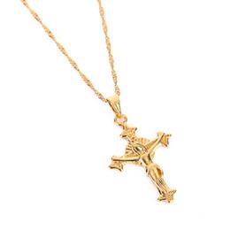 $enCountryForm.capitalKeyWord Australia - High Quality Jesus Head Cross Necklaces Gold Color 22K Charm Pendant For Women Men Jewelry Factory Wholesale Jewel Crucifix God