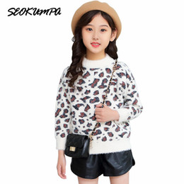 cute print sweaters 2019 - Baby Cute Girls Winter Clothes Children Leopard Print Clothing Knitted Sweater Kids Autumn Imitated Mink Sweater Pullove