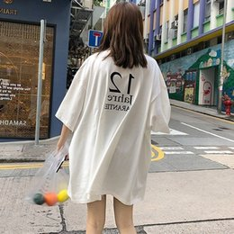 Tee squares online shopping - harajuku Cool Girl Letter print tshirt big size Long T Shirt Femme Summer white Top for Women Korean Style Loose Tee