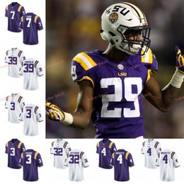 Wholesale Custom LSU Tigers Football white purple yellow Stitched Any Name Number Joe Burrow Nick Brossette Devin th Fiesta Bowl Jersey