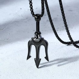 pirate pendants Australia - Poseidon's TRIDENT Pendant Necklace for Men Stainless steel Pirate Fantasy Once Upon a Time Movies Jewelry