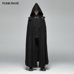 belted cape coat 2019 - PUNK RAVE Men Gothic Style Mysterious Cloak Cape Punk Detachable Black Vampire Men's Trench Coat Stage Performance