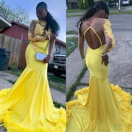 Water pipe art online shopping - 2019 Feathers Long Sleeves Prom Dresses High Neck Mermaid Open Back Plus Size Evening Gowns For African Black Girls K19 Party