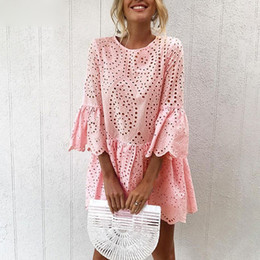 $enCountryForm.capitalKeyWord Australia - Elegant White Crochet Lace Dress Women 2019 Summer 3 4 Sleeve Casual Tunic Dress Beach Loose Short Dress Vestidos
