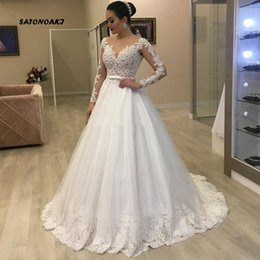 Covered baCk wedding dress line online shopping - SATONOAKI Vestidos De Noiva A Line Wedding Dresses Sweetheart Lace Appliques Beading Long Sleeves Open Back Marriage Bridal Gown for Bride