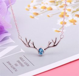 $enCountryForm.capitalKeyWord Australia - Fashion Temperament 925 silver Jewelry Elk Deer Antlers Pendant Necklace Christmas Gift For Women Girl Stainless Steel Chain lover Jewelry