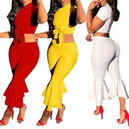 ladies sexy white pant suit NZ - yellow 2 piece set women fashion sexy autumn two piece set top and pants suit casual ladies womens clothing streetwear plus size