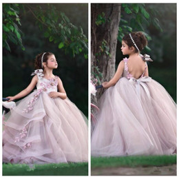 Kids party wear gown dress online shopping - Spaghetti Ball Gown Flower Girls Dresses With d Flowers Adorned Kids Formal Pageant Party Gowns Beaded Formal Communion Wear Custom