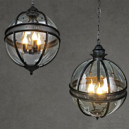 glass globe for light Australia - American Vintage Chandeliers 3 Lights E12 E14 Transparent Globe Glass Metal Painting for Living Dinning Room Cafe Loft Lighting