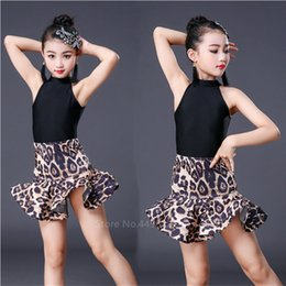 girls leopard print tops Canada - Latin Leopard Print Girls Latin Dance Fringe Dress Kids Ballroom Competition Evening Party Stage Performance Clothing Top+Skirt Set