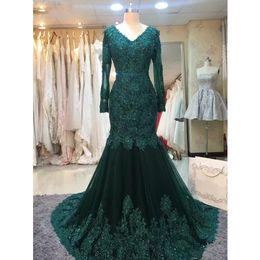 Emerald Prom Dress Straps Australia - Elegant Emerald Green Evening Dresses Long Sleeves Lace Bead Mermaid Formal Prom Dresses 2019 Plus Size Women Formal Dresses robe de soiree
