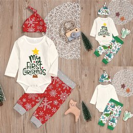 christmas clothes Australia - Christmas kids clothes Set 2 colors Long-sleeved lettered printed tops jumpsuits+Cartoon Christmas Tree Trousers+hat 3 pieces sets UJY809