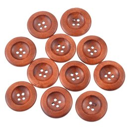 "$enCountryForm.capitalKeyWord Australia - wood craft Hoomall Wholesale 50PCs Coffee 4 Holes Wooden Sewing Buttons 30mm(1 1 8"") Dia."