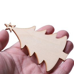 clear chips UK - 10pcs Christmas tree stars wood chips home ornaments small pendant