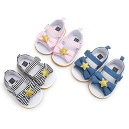 $enCountryForm.capitalKeyWord Australia - Baby Girl Sandals Summer Star Baby Girl Shoes Cotton Canvas Striped Bow Sandalsborn Shoes Beach Sandals