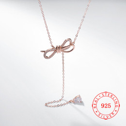 Butterfly White Rose Canada - 2019 new high quality 925 sterling silver rose gold plated butterfly with rhinestone necklace for girl fashion necklace for women