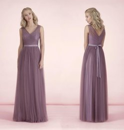 Discount wedding bridesmaid lilac dresses - Sexy Long Bridesmaid Dresses V Neck Sheer Tulle With Sashes bridesmaids Dresses Floor Length Lilac For Wedding Formal Pr