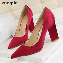 Silk Red Dress For Women Australia - Dress Silk Square Heel Women High Heels Women Shoes Party Wedding Shoes Red Thick Heels Shoes For Women 2019