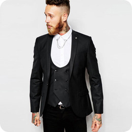 casual groom tuxedo Australia - Black Men Suits For Wedding Suits Groom Wear Prom Business Custom Made Bridegroom Slim Fit Casual Tuxedos Best Man Blazer Jacket+Pants+Vest
