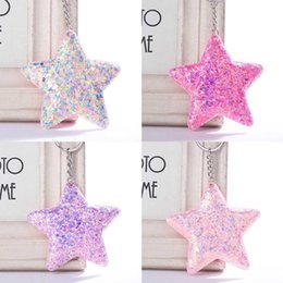 $enCountryForm.capitalKeyWord Australia - New Cute Five Star Keychain Glitter Sequins Key Chain Gifts For Women Car Bag Accessories Key Ring