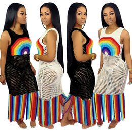 ef194d752a7 Rainbow Tassel Sexy Beach Boho Dress Women Fishnet Hollow Out See Through  Party Dress Summer O Neck Sleeveless PLus Size Maxi Robe A52106