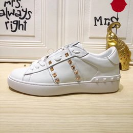 leather lace free shipping Australia - free shipping Casual Designer Fashion men luxura brand new white leather rock studded spikes lace up sneaker shoes come with box and dustbag