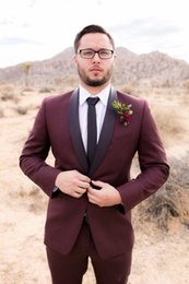 Images Fashionable Suits Australia - New Fashionable Groom Tuxedos Groomsmen One Button Burgundy Shawl Lapel Best Man Suit Wedding Men's Blazer Suits (Jacket+Pants+Tie) 1269
