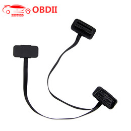 Nissan Obd2 Connector Australia - (30pcs lot) OBD2 Flat Splitter Cable For ELM327 16pin Male To Dual Female Thin As Noodles Y Splitter Elbow Extension Connector