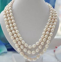 mabe pearls Australia - Free shipping @@> N1955 3strands 12mm rice white Freshwater cultured pearl necklace mabe 23in