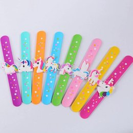 $enCountryForm.capitalKeyWord Australia - Unicorn kids toys small gifts 2018 European and American fashion silicone PP hand bowls Unicorn patted circle silicone bracelets wholesale