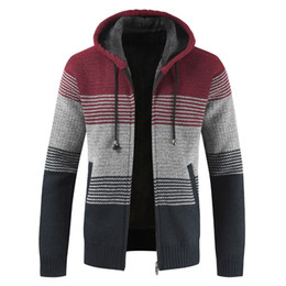 Green Cardigan Men UK - Oufisun Sweater Coat Men 2019 Winter Thick Warm Hooded Cardigan Jumpers Men Striped Cashmere Wool Liner Zipper Fleece Coats Men T190618