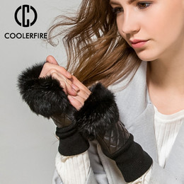 Brown Leather Gloves For Men Australia - Fashion Faux Rabbit Fur Gloves Genuine Leather Sheepskin Mittens Keep Warm Winter Gloves for Women Fingerless ST042