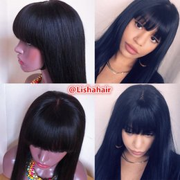 Wigs Bang Density Australia - 150% density Straight Lace Front Wig Brazilian Virgin Human Hair Glueless Full Lace Wig With Bangs Bleached Knots For Black Women