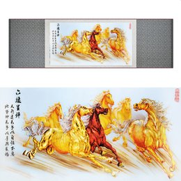 $enCountryForm.capitalKeyWord Australia - Top Quality Chinese Horse Silk Painting Horse Art Painting Side Scroll Art Painting 19062808