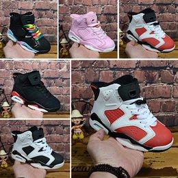 size 40 c647b 7870c Nike Air Jordan 6 Enfants Chaussures De Basketball Enfants 6 6s Métallique  Or Sports Chaussures Garçons Filles Jeunes Oreo Noir Infrarouge Athlétique  ...