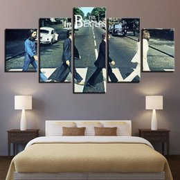 beatles painting NZ - 5 Pcs Combinations HD Beatles band John Lennon Unframed Canvas Painting Wall Decoration Printed Oil Painting poster