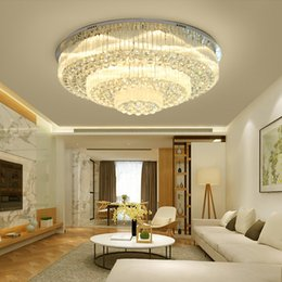 rectangular bedroom lights Australia - New design modern round crystal ceiling chandelier lighting rectangular flush mount chandelier led ceiling lamp for living room bedroom