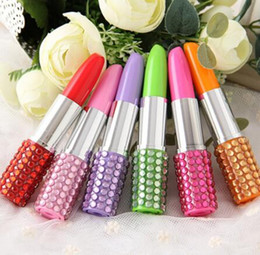 sexy pen NZ - 200 pcs Rhinestone Sexy Lipstick Shape Office Stationery Ballpoint Ball Pen 1 order