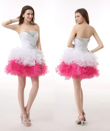 sexy cocktail dresses images Australia - Pink White Real Image Ball Gown Sleeveless Organza Beading Party Cocktail Dresses Short Prom Dresses Homecoming Dresses