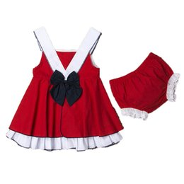 red baby vest UK - 2Pcs Pretty Baby Girl Princess Outfit Bow Knot Sleeveless Strap Infant Patchwork Dress+Red Shorts 2Pcs Set Kids Summer Clothes