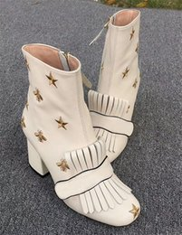 sheepskin boots 2019 - Fashion Martin Boots Leather Platform Ankle Boots Embroidered Bees and Stars Women Marmont Boot Winter Party Wedding Boo