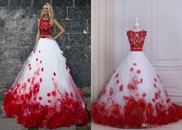 Red Floral Lace Prom Dress NZ - Red And White Ball Gown Prom Dresses Two Pieces New Cheap Jewel Neck Lace Applique 3D Floral Flowers Tulle Long Evening Formal Dress