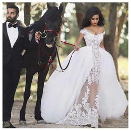 Ball Gown Wedding Dresses Australia - 2019 Detachable Train Informal Wedding Dress Ball Gowns Off The Shoulder Appliques Wedding Bride Gowns Sexy Floor Length Wedding Gowns