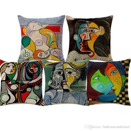 picasso arts UK - Picasso Portrait Cushion Covers Abstract Famous Art Watercolor Oil Painting Pillow Case 45X45cm Room Sofa Chair Decoration