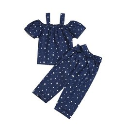Chinese  Wholesale baby girl designer clothes Summer cute girl Sling Shoulder t shirt+pant Star printing 2pcs Set kids designer clothes girls BY0826 manufacturers