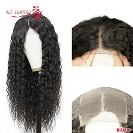 4x4 lace closures NZ - 4X4 Remy Hair Lace Closure Wig Water Wave Human Hair Wig With Lace Closure Pervian Ali Lumina