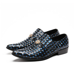 Handmade Patchwork Dress Australia - Luxury Style Genuine Leather Blue Formal Dress Monk Casual Wedding Brogues Men Shoes Handmade Paty Leather Shoes Men Flats W286